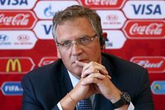 FIFA secretary general Jerome Valcke attends a news conference during his visit to Samara, one of the 2018 World Cup host cities, Russia, June 10, 2015. REUTERS/Maxim Zmeyev
