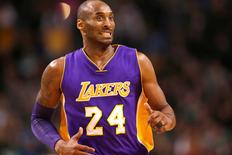Dec 30, 2015; Boston, MA, USA; Los Angeles Lakers forward Kobe Bryant (24) reacts during the second half of a game against the Boston Celtics at TD Garden. Mandatory Credit: Mark L. Baer-USA TODAY Sports