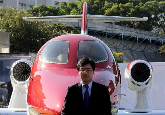 1月19日、ホンダの航空機事業子会社の藤野社長は会見で、ホンダジェットの受注について「100機を大きく超えるオーダーをいただいている」と述べた。サンパウロで昨年8月撮影(2016年 ロイター/Paulo Whitaker)
