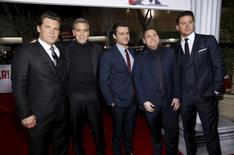 "Cast members (L-R) Josh Brolin, George Clooney, Alden Ehrenreich, Jonah Hill and Channing Tatum pose at the premiere of ""Hail, Caesar!"" in Los Angeles, California February 1, 2016. The movie opens in the U.S. on February 5.   REUTERS/Mario Anzuoni"