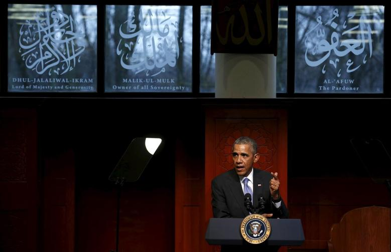 U.S. President Barack Obama delivers remarks at the Islamic Society of Baltimore mosque in Catonsville, Maryland February 3, 2016.  REUTERS/Jonathan Ernst