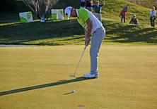 James Hahn putts on the 8th green during the second round of the Waste Management Phoenix Open golf tournament at TPC Scottsdale. Mandatory Credit: Joe Camporeale-USA TODAY Sports