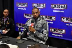 Feb 12, 2016; Toronto, Ontario, Canada; Eastern Conference forward LeBron James of the Cleveland Cavaliers (23) speaks during media day for the 2016 NBA All Star Game at Sheraton Centre. Bob Donnan-USA TODAY Sports