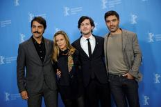 Actors Ricardo Pereira, Margarida Vila-Nova, Miguel Nunes and director Ivo Ferreira (L-R) pose during a photocall to promote the movie Cartas da guerra (Letters from War) at the 66th Berlinale International Film Festival in Berlin February 14, 2016.  REUTERS/Stefanie Loos