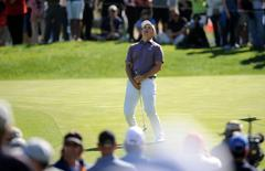 February 19, 2016; Pacific Palisades, CA, USA; Jordan Spieth reacts after missing a chance for birdie on the third hole green during the second round of the Northern Trust Open golf tournament at Riviera Country Club. Mandatory Credit: Gary A. Vasquez-USA TODAY Sports