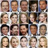 Oscar nominees are shown in this combination of file photos.  From top to bottom (L-R) are best actor nominees Bryan Cranston, Matt Damon, Michael Fassbender, Eddie Redmayne, and Leonardo DiCaprio; best actress Brie Larson, Saoirse Ronan, Charlotte Rampling, Jennifer Lawrence and Cate Blanchett; best supporting actor Mark Rylance, Christian Bale, Tom Hardy, Sylvester Stallone and Mark Ruffalo; best supporting actress Alicia Vikander, Rachel McAdams, Rooney Mara, Kate Winslet and Jennifer Jason Leigh. REUTERS/Staff/Files