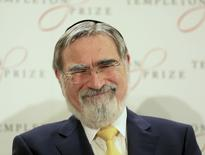 Britain's former Chief Rabbi Jonathan Sacks laughs during a news conference after being awarded the 2016 Templeton Prize in London, Britain March 2, 2016. REUTERS/Paul Hackett