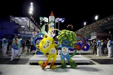 Olympic mascots are seen at the Sambadrome in Rio de Janeiro's Sambadrome February 7, 2016.   REUTERS/Sergio Moraes