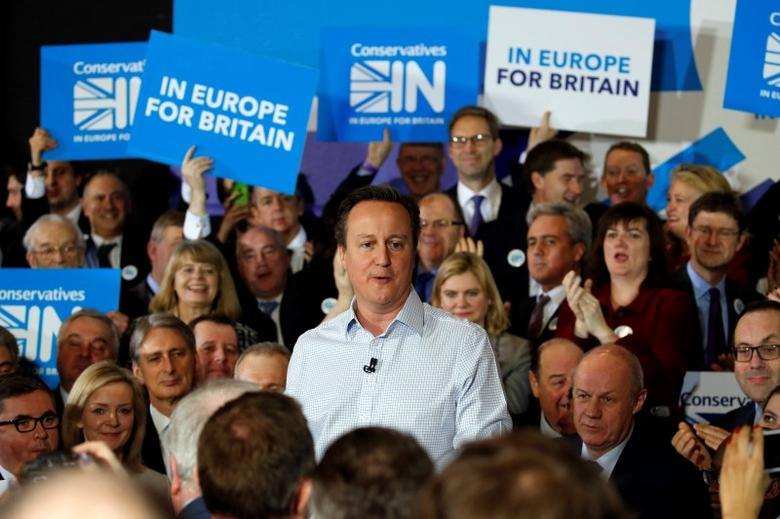 Britain's Prime Minister David Cameron speaks as he launches the official Conservative campaign to stay in the European Union, in London, Britain February 24, 2016. 2016. REUTERS/Alex B. Huckle/pool