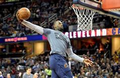 Feb 29, 2016; Cleveland, OH, USA; Cleveland Cavaliers forward LeBron James (23) dunks prior to a game against the Indiana Pacers at Quicken Loans Arena. Mandatory Credit: David Richard-USA TODAY Sports