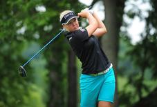 Jul 12, 2015; Lancaster, PA, USA; File photo of Brooke Henderson tees off the second hole during the final round of the U.S. Women's Open at Lancaster Country Club. Mandatory Credit: Evan Habeeb-USA TODAY Sports