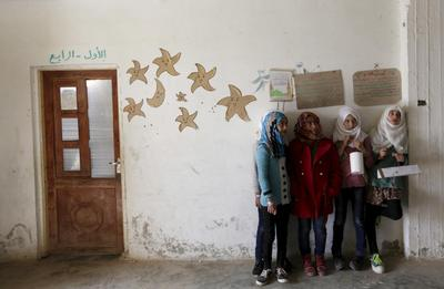 Poultry farm turned school in Syria