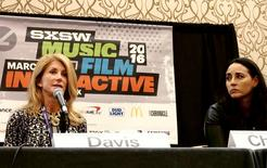 Former Texas state Senator Wendy Davis (L) and Soraya Chemaly (R), a writer and activist, appear at a session at online harassment at the South by Southwest tech summit in Austin, Texas March 12, 2016.  REUTERS/Sachi Jenkins