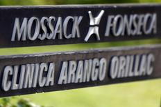A company list showing the Mossack Fonseca law firm is pictured on a sign at the Arango Orillac Building in Panama City April 3, 2016. REUTERS/Carlos Jasso