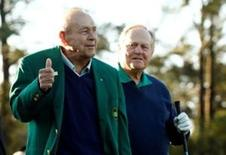 Apr 7, 2016; Augusta, GA, USA; Honorary starter Arnold Palmer (left) gives a thumbs up next to Jack Nicklaus (right) during the first round of the 2016 The Masters golf tournament at Augusta National Golf Club. Mandatory Credit: Rob Schumacher-USA TODAY Sports