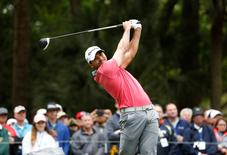 Apr 15, 2016; Hilton Head, SC, USA; Jason Day hits his tee shot on the 9th hole during the second round of the RBC Heritage golf tournament at Harbour Town Golf Links. Mandatory Credit: Jason Getz-USA TODAY Sports