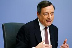 European Central Bank (ECB) President Mario Draghi speaks during a news conference at the ECB headquarters in Frankfurt, Germany, April 21, 2016.   REUTERS/Ralph Orlowski