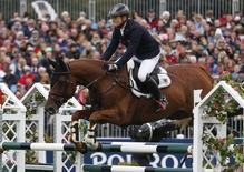 Germany's Michael Jung riding fischer Takinou jumps a fence during the show jumping at the FEI European Eventing Championship at Blair Castle, Scotland, Britain, September 13, 2015.  REUTERS/Russell Cheyne