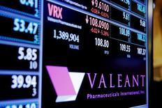 Valeant est une des valeurs à suivre lundi à Wall SStreet. Le laboratoire pharmaceutique canadien, lourdement endetté, a annoncé qu'il publierait ses résultats du premier trimestre au plus tard le 10 juin, soit bien avant la date butoir du 31 juillet. Il a maintenu ses prévisions de résultats pour le premier trimestre. Le titre gagne 4,6% à 31,27 dollars en avant-Bourse. /Photo prise le 28 décembre 2016/REUTERS/Lucas Jackson