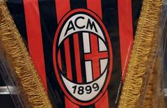 The AC Milan logo is pictured on a pennant in a soccer store downtown Milan April 29, 2015. REUTERS/Stefano Rellandini