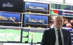 Stéphane Boujnah,, le directeur général d'Euronext qui a fait état jeudi d'une hausse de sa marge d'Ebitda au premier trimestre 2016 par rapport à l'année précédente, sa stratégie de gestion des coûts compensant une baisse de son chiffre d'affaires.  /Photo prise le 4 mai 2016/REUTERS/Jacky Naegelen