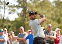 May 12, 2016; Ponte Vedra Beach, FL, USA; Jason Day hits his tee shot on the 16th hole during the first round of the 2016 Players Championship golf tournament at TPC Sawgrass - Stadium Course. Mandatory Credit: John David Mercer-USA TODAY Sports
