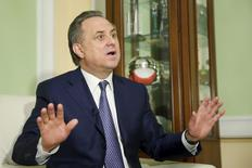 Russian Sports Minister Vitaly Mutko gestures during an interview with Reuters in Moscow, Russia, March 11, 2016.   REUTERS/Maxim Zmeyev