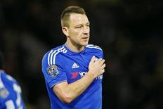 Capitão do Chelsea, John Terry, durante partida da Liga Inglesa.   03/02/2016 Reuters / Stefan Wermuth Livepic