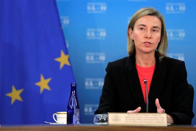 European Union Foreign Policy Chief Federica Mogherini speaks during the seventh U.S.–E.U. Energy Security Council in Washington, U.S., May 4, 2016. REUTERS/Joshua Roberts