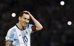 Messi durante jogo da Argentina contra a Bolívia. 29/03/16.  REUTERS/Enrique Marcarian