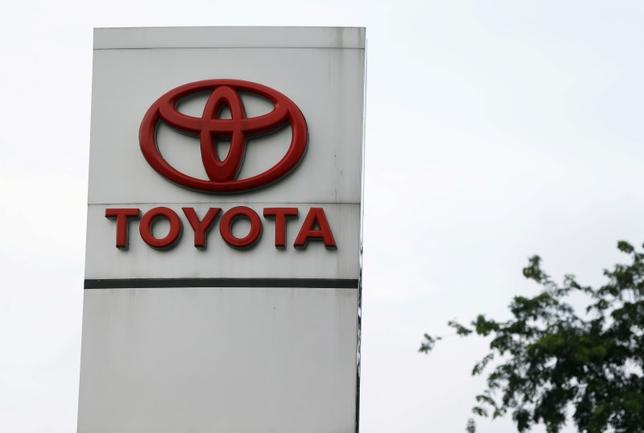 The logo of Toyota is seen at a showroom in Jakarta, Indonesia February 24, 2016. Picture taken February 24.    REUTERS/Beawiharta