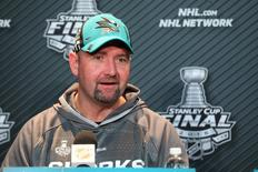San Jose Sharks head coach Peter DeBoer answers questions during media day a day prior to game one of the 2016 Stanley Cup Final at the CONSOL Energy Center. Mandatory Credit: Charles LeClaire-USA TODAY Sports