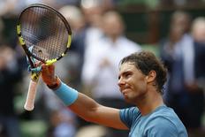 Tenista espanhol Rafael Nadal durante partida contra argentino Facundo Bagnis em Roland Garros. 26/05/2016 REUTERS/Pascal Rossignol