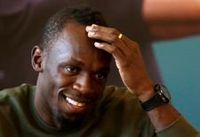 Jamaican sprinter Usain Bolt reacts during a news conference before the Ostrava Golden Spike athletics meeting, in Prague, Czech Republic, May 18, 2016. REUTERS/David W Cerny