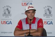 June 14, 2016; Oakmont, PA, USA; Rickie Fowler addresses the media in a press conference during the practice rounds on Tuesday of the 2016 U.S. Open golf tournament at Oakmont CC. Mandatory Credit: Kyle Terada-USA TODAY Sports
