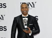 """Actor Leslie Odom, Jr. poses backstage with his award for Best Performance by a Leading Actor in a Musical for """"Hamilton"""" during the American Theatre Wing's 70th annual Tony Awards in New York, U.S., June 12, 2016. REUTERS/Andrew Kelly/File Photo"""