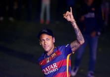 Neymar durante cerimônia no Camp Nou, em Barcelona.     23/05/2016        REUTERS/Albert Gea
