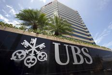 The logo of UBS is seen outside the building housing the headquarters of the Swiss bank in San Juan, Puerto Rico, July 31, 2015.  REUTERS/Alvin Baez