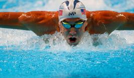 Michael Phelps competes during the men's 200m butterfly preliminary heats in the U.S. Olympic swimming team trials at CenturyLink Center in Omaha, Nebraska, U.S. June 28, 2016. Mandatory Credit: Rob Schumacher-USA TODAY Sports/File photo