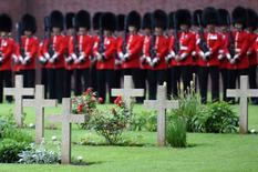 British horse guards stand guard as they take part in the memorial ceremony at the Franco-British National Memorial in Thiepval near Albert, during the commemorations to mark the 100th anniversary of the start of the Battle of the Somme, northern France, July 1, 2016.  REUTERS/Stephane de Sakutin/Pool