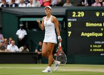 Britain Tennis - Wimbledon - All England Lawn Tennis & Croquet Club, Wimbledon, England - 5/7/16 Germany's Angelique Kerber celebrates during her match against Romania's Simona Halep REUTERS/Stefan Wermuth
