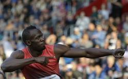 Athletics - IAAF Ostrava Golden Spike athletics meeting - Ostrava, Czech Republic - 20/05/16 Jamaica's Usain Bolt reacts after the men's 100m race. REUTERS/David W Cerny