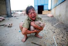 Las fuertes lluvias en China han causado al menos 87 muertos y obligado a miles de personas a dejar sus casas, informaron medios estatales el sábado. En la imagen, una mujer llora mientras abraza a un cerdo rescatado de una granja inundada en Xiaogan, provincia de Hubei, el 22 de julio de 2016. REUTERS/Darley Shen