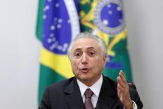 Presidente interino Michel Temer no Palácio do Planalto, em Brasília. 16/05/2016 REUTERS/Ueslei Marcelino