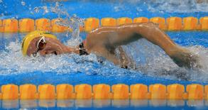 Rio Olympics - Swimming - Preliminary - Women's 100m Freestyle - Heats - Olympic Aquatics Stadium - Rio de Janeiro, Brazil - 10/08/2016. Cate Campbell (AUS) of Australia reacts. REUTERS/Dominic Ebenbichle