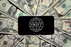 The Swift bank logo is pictured in this photo illustration taken April 26, 2016.    REUTERS/Carlo Allegri/File Photo