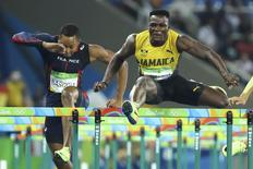 Omar McLeod of Jamaica in the men's 110m hurdles. REUTERS/Lucy Nicholson