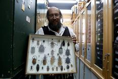 Laibale Friedman, a collection manager at Tel Aviv University carries a specimen display box at a laboratory whose collection will be housed at the Steinhardt Museum of Natural History, a new Israeli natural history museum set to open next year in Tel Aviv, Israel June 8, 2016.  REUTERS/Nir Elias