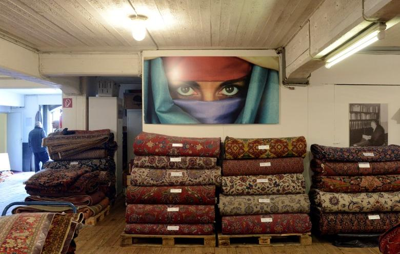 Persian carpets are pictured in a showroom of an Iranian seller in the famous historical district ''Speicherstadt'' (warehouse depot) in Hamburg, April 17, 2012. REUTERS/Fabian Bimmer