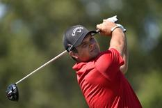 Aug 28, 2016; Farmingdale, NY, USA; Patrick Reed watches his tee shot on the sixth hole during the final round of The Barclays golf tournament at Bethpage State Park - Black Course. Mandatory Credit: Eric Sucar-USA TODAY Sports
